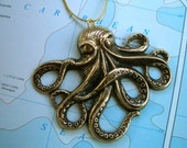 Octopus Christmas Ornament Antiqued Brass Rustic Gothic Victorian Steampunk Sea Kraken From Cosmic Firefly