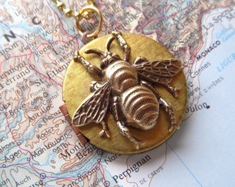 Brass Bee Locket Necklace Vintage Locket Long Chain Assemblage Jewelry By Cosmic Firefly