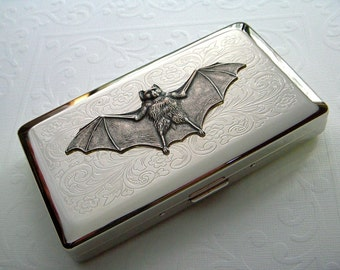 Long Cigarette Case Gothic Victorian Vampire Bat Vintage Inspired Steampunk Style Big Silver Plated Metal Holds 120's Longs Cigarettes
