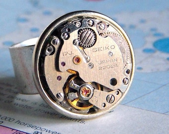 Steampunk Ring SEIKO Japan Silver Ring Antiqued Silver Plated Wide Band Vintage Round Watch Movement Unisex Ring Men's Ring Woman's Ring