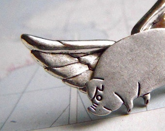 Flying Pig Lapel Pin Tie Tack Hat Pin Silver Plated Wings Steampunk Tie Tack Original Design By Cosmic Firefly If Pigs Could Fly
