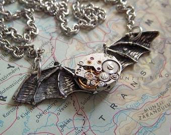 Halloween Bat Steampunk Necklace Bat Wings Tiny Vintage Watch Movement Rustic Primitive Gothic Victorian Jewelry