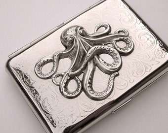 Cigarette Case Silver Octopus Vintage Style Gothic Victorian Steampunk Small Size Metal Card Holder