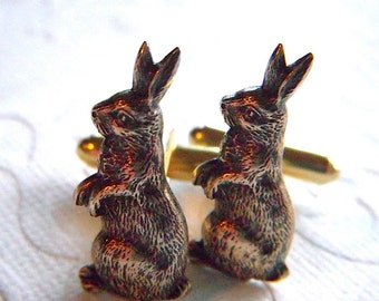 Rabbit Cufflinks Antiqued Brass Bunny Cufflinks Men's Cufflinks Men's Accessories Men's Gifts From Cosmic Firefly