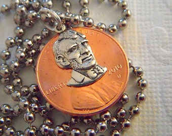 Steampunk Necklace Lucky Penny Necklace Real Copper Coin Abraham Lincoln Pendant Original Mixed Metals Assemblage Jewelry From CosmicFirefly