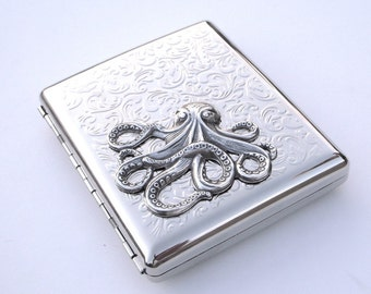 Big Cigarette Case Silver Octopus Case Large Size Vintage Inspired Gothic Victorian Steampunk Cigarette Case