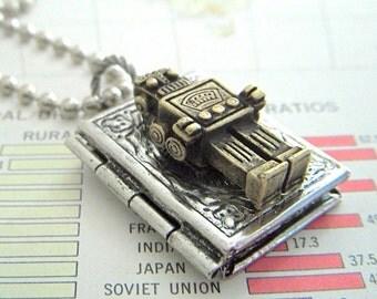 Small Robot Locket Necklace Brass Robot Necklace Silver Book Locket Steampunk Locket Primitive Finish Boy's Necklace