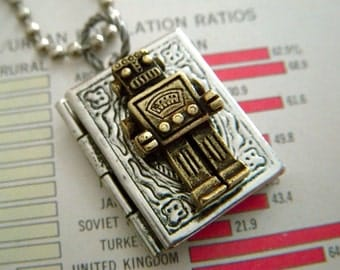Robot Locket Necklace Steampunk Necklace Rustic Silver & Bronze Mixed Metals Tiny Book Locket Robot Necklace