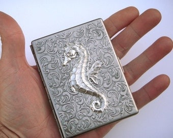 Metal Cigarette Case Gothic Victorian Seahorse Antiqued Silver Vintage Inspired Nautical Steampunk Art Nouveau