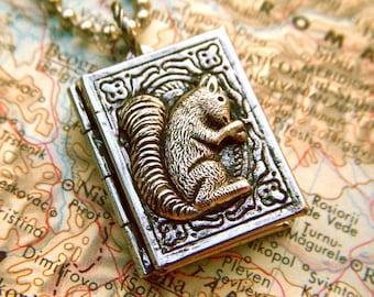 Tiny Locket Necklace Squirrel Book Mixed Metals Rustic Finish