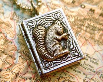 Tiny Locket Necklace Squirrel Book Locket Mixed Metals Rustic Finish