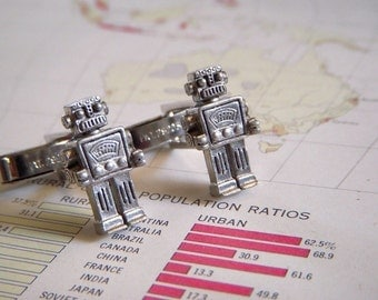 Silver ROBOT CUFFLINKS Men's Cufflinks Original Design Featured In Real Simple Magazine Wedding Cufflinks