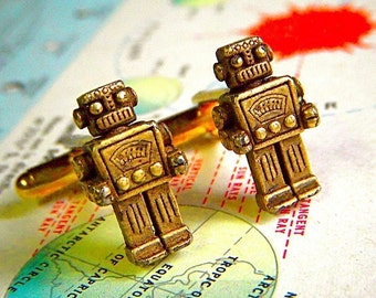 Robot Cufflinks Rustic Bronze - These Are The Original Design From Cosmic Firefly Featured In REAL SIMPLE Magazine Rustic Steampunk Robots