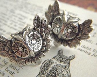 Owl Cufflinks Swarovski Crystal Eyes Gothic Victorian Vintage Inspired Antiqued Silver Cufflinks You Pick The Eye Color Men's Cufflinks