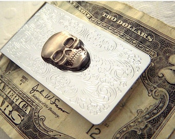 Skull Money Clip Gothic Victorian Men's Money Clip Steampunk Money Clip Vintage Inspired Florentine Scroll Pattern Silver Money Clip