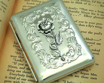 Rose Cigarette Case Vintage Inspired Gothic Victorian Small Silver Tone Metal Steampunk Case
