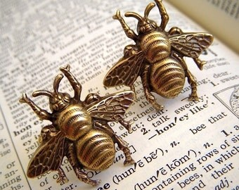 Big Bee Cufflinks Brass Bees Vintage Inspired BIG BOLD Men's Steampunk Cufflinks Brass Cufflinks Men's Cufflinks Men's Gifts For Him