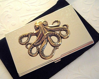 Metal Octopus Business Card Case Vintage Style Brass Octopus Silver Card Case Slim Metal Case Gothic Victorian Steampunk Card Case New