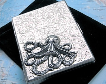 Silver Octopus Cigarette Case Antiqued Silver Metal Oversized Business Card Holder Slim Case Gothic Victorian Steampunk Wallet Pirate Case