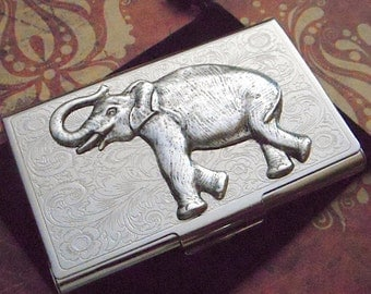 Business Card Case Silver Elephant Card Case Metal Card Holder Victorian Steampunk Men's Women's Gifts