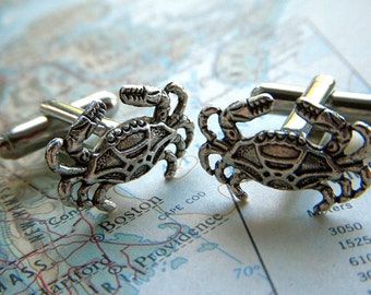 Crab Cufflinks Silver Cufflinks Nautical Cufflinks Tiny Size Popular Men's Cuff Links Accessories & Gifts Victorian Vintage Inspired