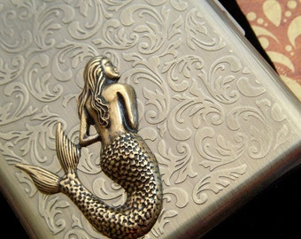 Brass Mermaid Cigarette Case Big Metal Vintage Inspired Gothic Victorian Nautical Steampunk Style Rustic Antiqued Gold Brass Tone Finish