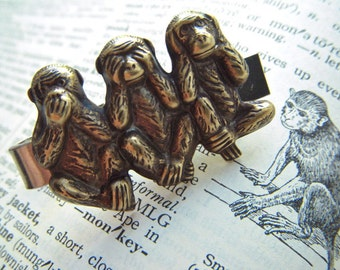 Men's Tie Bar Clip Brass Monkeys Vintage Inspired Gothic Victorian Speak See Hear No Evil Popular Steampunk Style Gifts & Accessories