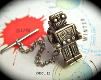 Robot Tie Tack Rustic Brass Tiny Popular Vintage Inspired Men's Jewelry & Steampunk Accessories