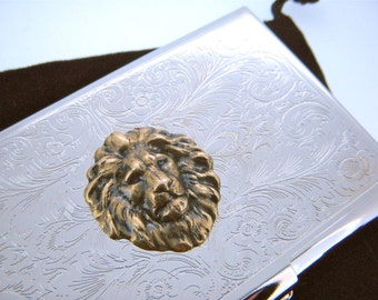 Lion Card Case Business Card Case Lion Victorian Card Case Steampunk Card Case Vintage Style Leo Gifts