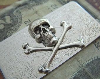 Money Clip Skull & Crossbones Vintage Inspired Silver Plated Men's Accessories Antique Style Gothic Victorian Men's Gifts NEW