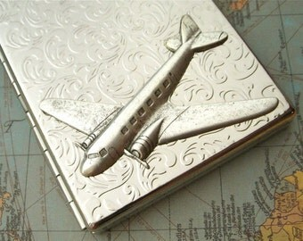 Airplane Cigarette Case Silver Plated Big Card Holder or Slim Metal Wallet Pan Am Steampunk Style