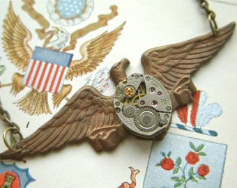 Steampunk Necklace Eagle Wings Rustic Brass Metal With Vintage Watch Movement