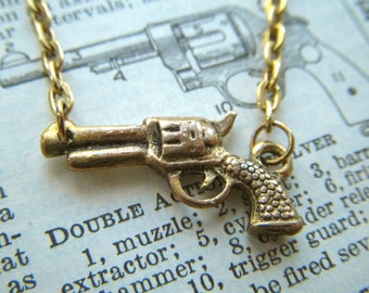 Gold Gun Necklace Antiqued Gold Tone Metal Finish Tiny Size