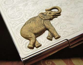 Elephant Business Card Case Silver Card Case Gothic Victorian Card Case Steampunk Card Case Elephant Card Case