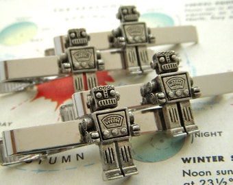 Robot Tie Clips Set of 4 Wholesale Price Steampunk Original Design By Cosmic Firefly Men's Accessories Groomsmen Gifts & Wedding Favors