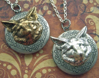 Fox Locket Necklaces Set of 2 Vintage Inspired Gothic Victorian Woodland Animal Jewelry Steampunk Style Silver & Brass Mixed Metals