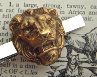 Lion Tie Clip Brass & Silver Mixed Metals Gothic Victorian Vintage Inspired Tie Bar Brass Lion Steampunk Style Men's Accessories