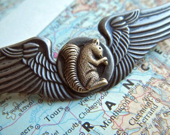 Steampunk Pin Flying Squirrel Wings Cosplay Badge Mixed Metals Rustic Pewter & Brass Brooch