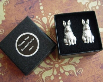 Silver Rabbit Cufflinks Antiqued Silver Cufflinks Men's Cufflinks Men's Gifts Bunny Cufflinks