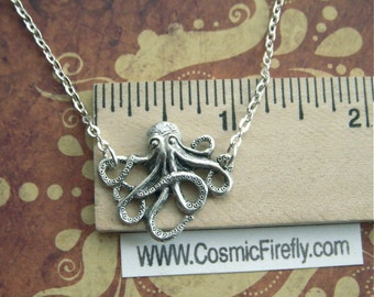 Tiny Octopus Necklace Miniature Petite Fashion Jewelry World's Tiniest Octopus Necklace Silver Tone Metals Girl's Necklace Steampunk