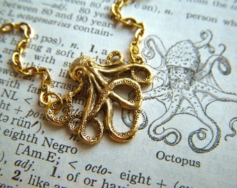 Tiny Gold Octopus Necklace Miniature Goldtone Metals Small Petite Nautical Victorian Steampunk Inspired Octopi Jewelry