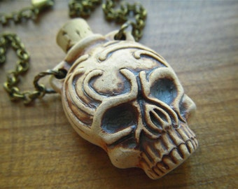 Sale Tribal Skull Necklace Natural Stoneware Ceramic Skull Bottle Necklace Long Chain Necklace Antiqued Brass Rolo Chain Halloween Jewelry