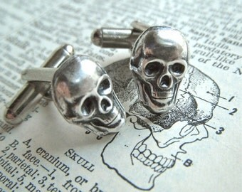 Small Silver Skull Cufflinks Tiny Silver Plated Men's Cuff Links Gothic Victorian Steampunk Style Vintage Inspired Cosmic Firefly Las Vegas