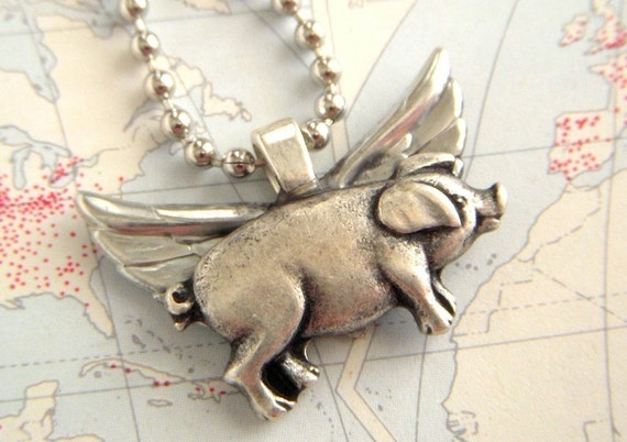 Flying Pig Necklace 3D Silvertone Wings Silver Plated Chain Included Handcrafted By Cosmic Firefly