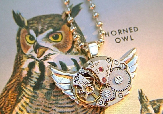 Owl Necklace Steampunk Necklace Vintage Watch Movement Gears Citizen Japan Small Handcrafted Jewelry Silver Owl Pendant By Cosmic Firefly