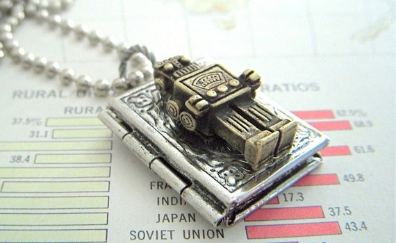 Small Robot Locket Necklace Brass Robot Necklace Silver Book Locket Steampunk Locket Primitive Finish Boy's Necklace