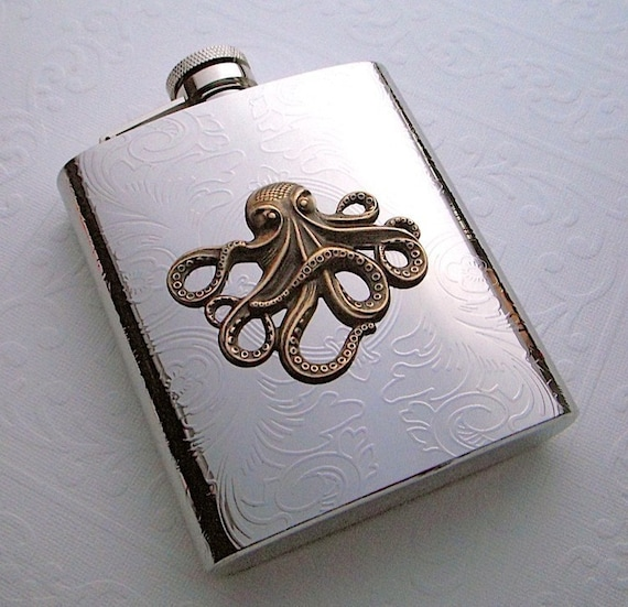 Steampunk Flask Brass Octopus Large Size Holds 8 oz Vintage Reproduction Gothic Victorian Nautical Silver & Brass Mixed Metals