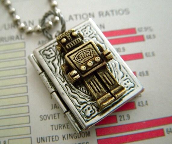 Robot Locket Necklace Steampunk Necklace Rustic Silver & Bronze Mixed Metals Tiny Book Locket Robot Necklace