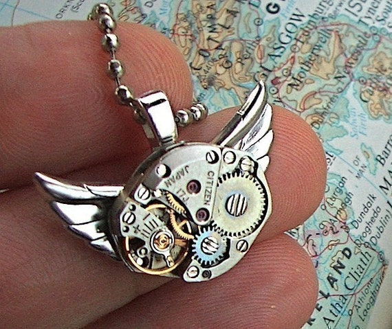 Steampunk Necklace Owl Jewelry Vintage Watch Movement Citizen Japan Small Pendant Handcrafted Original From Cosmic Firefly