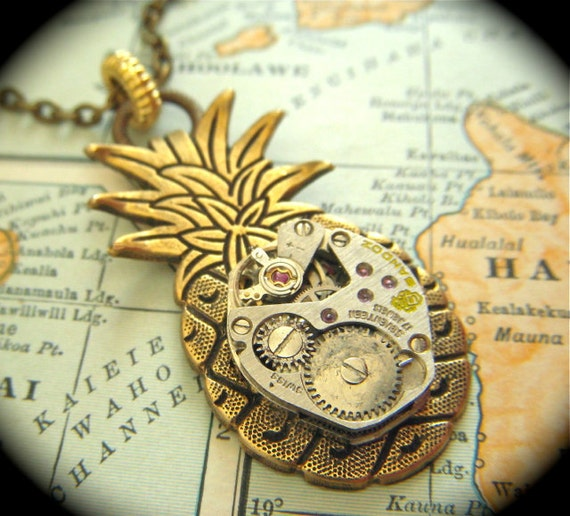 Steampunk Necklace Brass Pineapple Necklace Handcrafted Pineapple Jewelry Antique Vintage Watch Movement Tropical Tiki Necklace Pendant